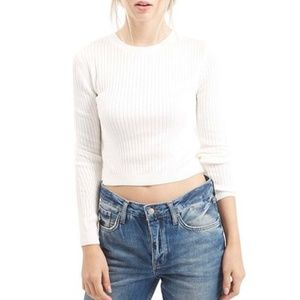 TOPSHOP White Ribbed Crewneck Long Sleeve Top Sz6
